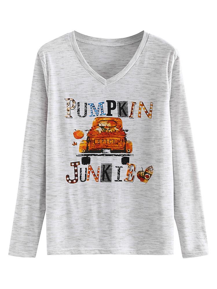 Женская повседневная футболка с длинным рукавом с тыквой на Хэллоуин