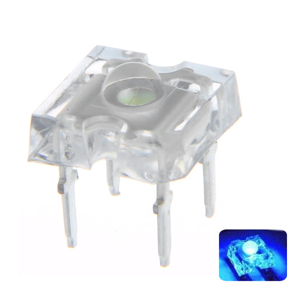 ШТ. DC3V 3 ММ 4Pin Синий Прозрачный Круглый Верх Объектив Вода Прозрачная Лампа Излучения LED Диод DIY Лампа