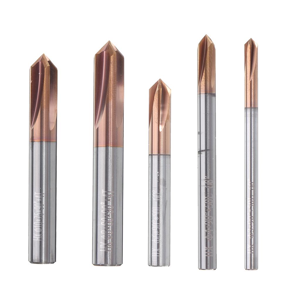 Флейты Фреза для снятия фаски 90 градусов HRC60 3-12мм Вольфрамовая сталь Фрезер для нанесения покрытия AlTiN