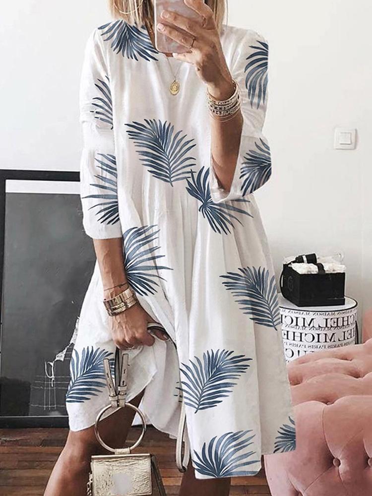 Женский цветочный принт с длинным рукавом Пляжный Holiday Платье