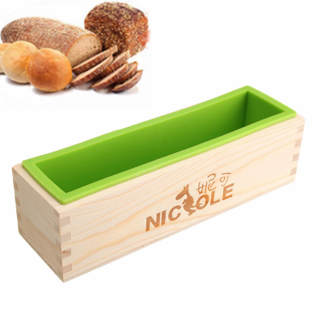 Прямоугольник Силиконовый Мыло Плесень деревянная Коробка DIY Инструмент Форма для выпечки торта для выпечки хлеба