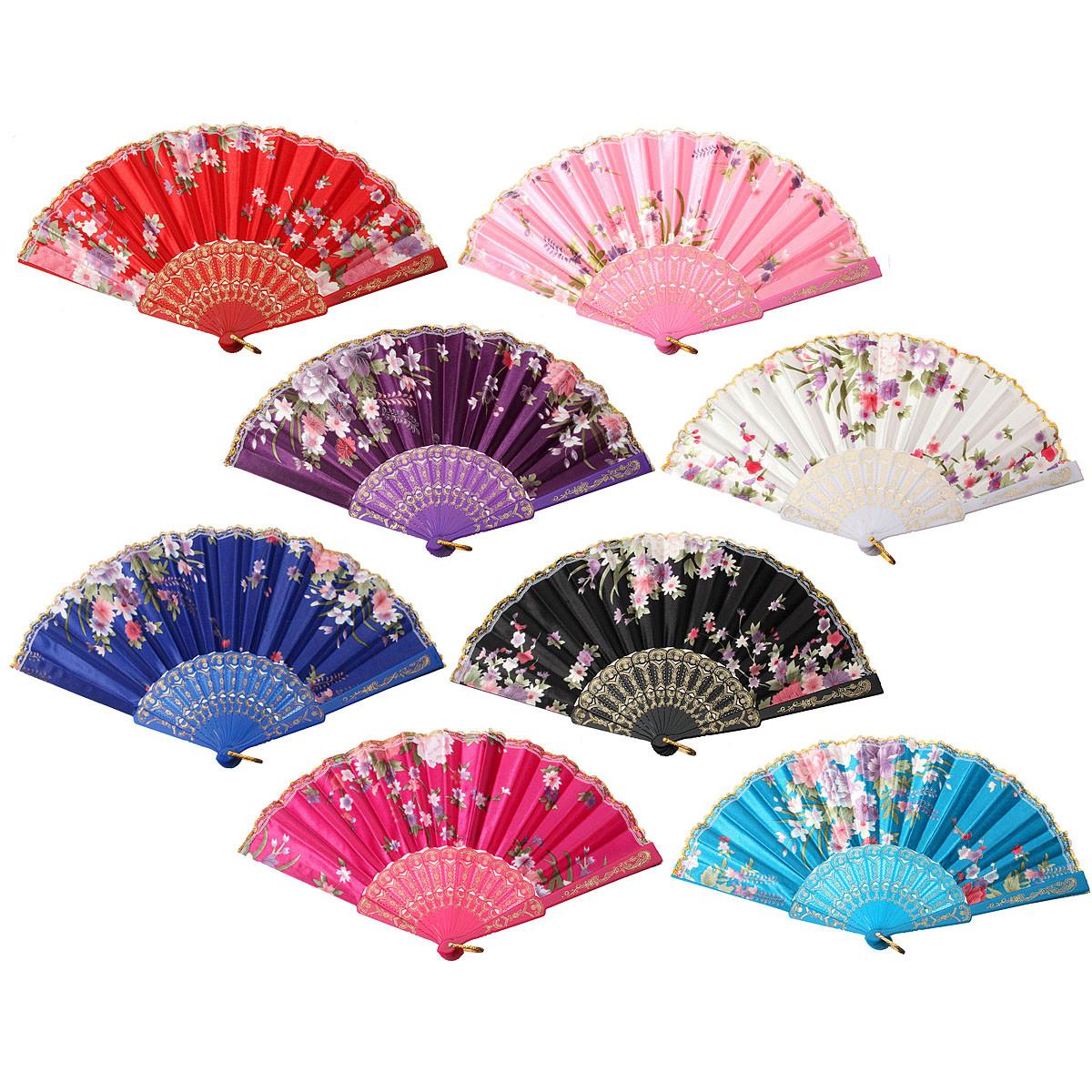 Китайский Японский Кружева Шелковый Складной Ручной Танец Вентилятор Цветочная Вечеринка Свадебное Подарок