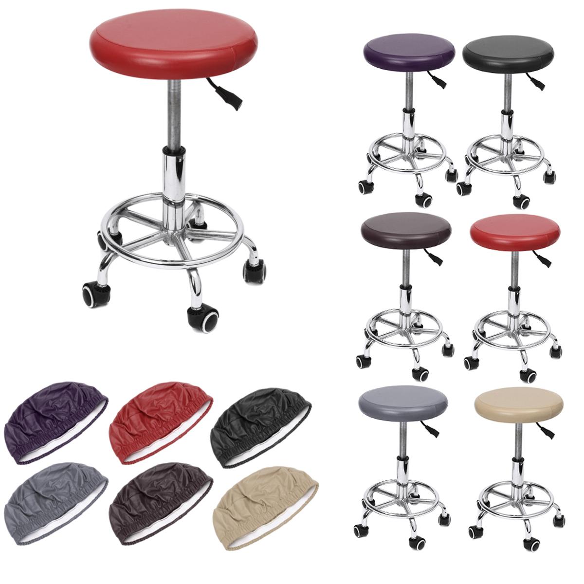 Круглые чехлы на стулья Эластичный кожаный пылезащитный чехол для сиденья барного стула