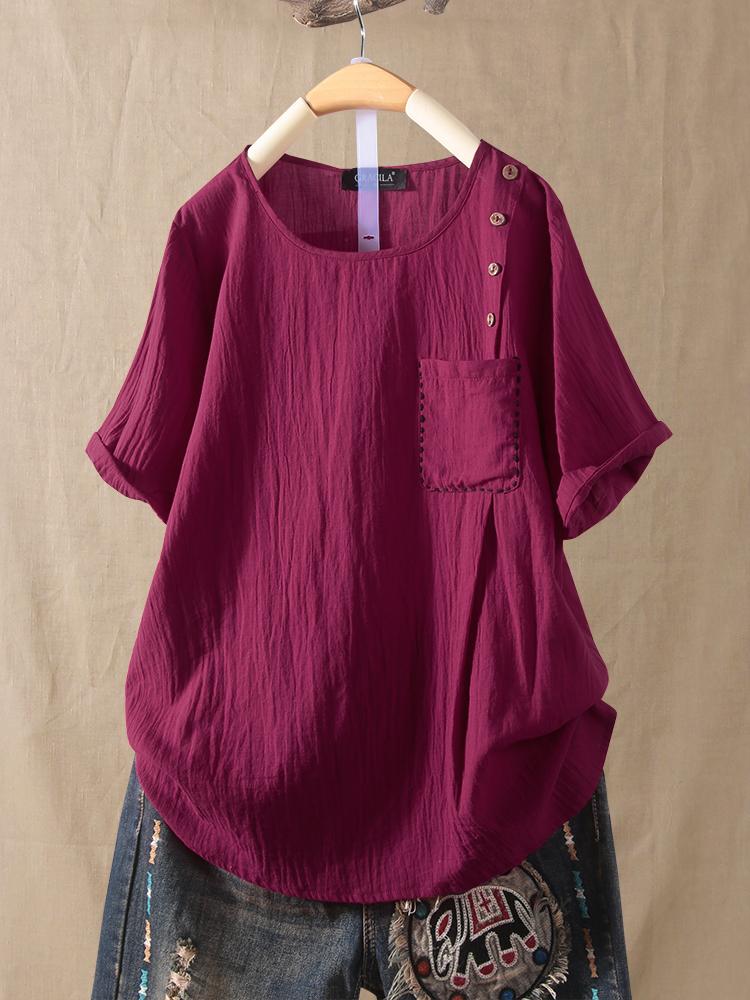 Женские однотонные футболки с короткими рукавами и карманами