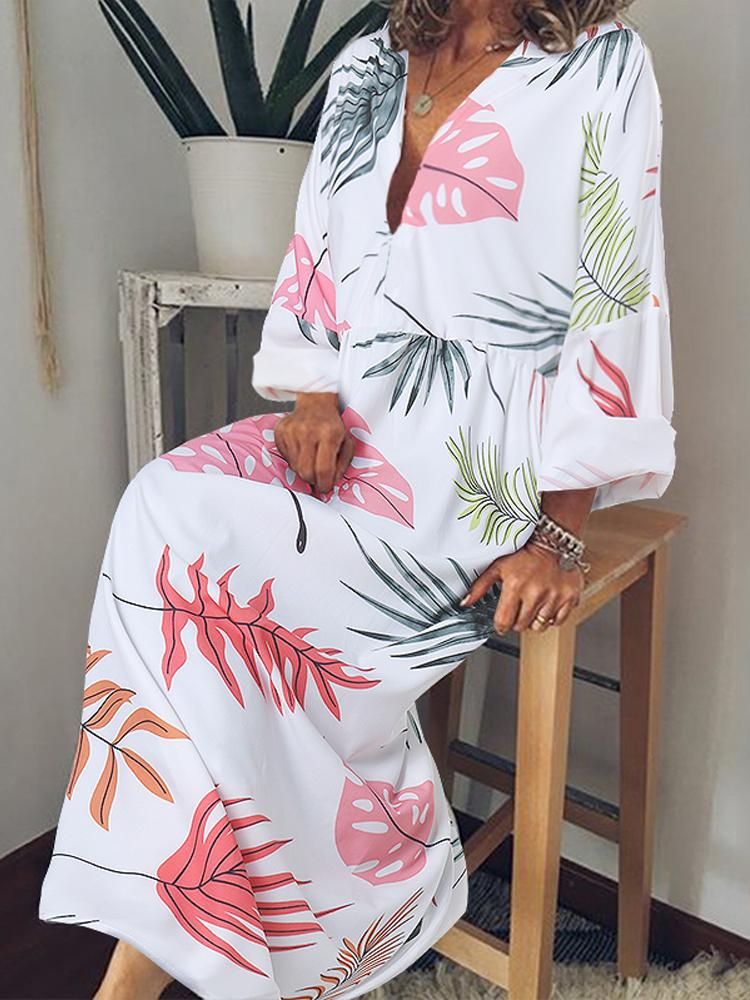 Женский с длинным рукавом с V-образным вырезом с цветочным принтом Maxi Платье