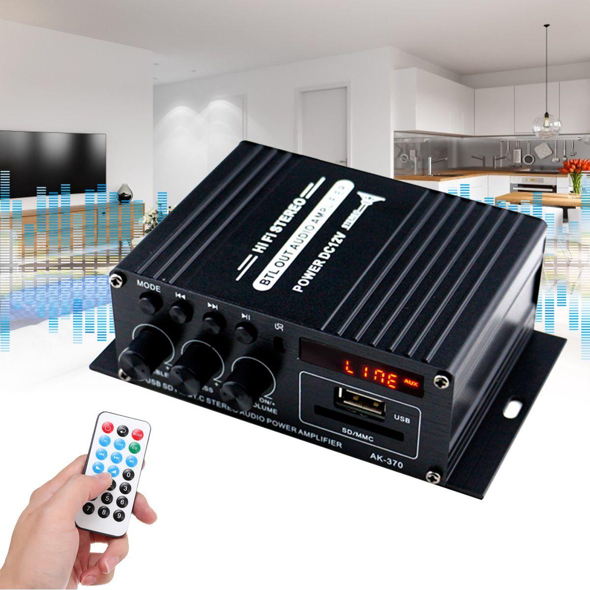 Вт DC 12 В / AC 220 В Дистанционное Управление Bluetooth HiFi Домашний автомобильный стерео Усилитель Музыка Приемник FM Радио 20 Гц-20 кГц