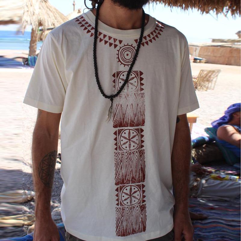Африканский этнический принт Рубашка Hippie Bohemian Винтаж Футболка с багги и блузкой
