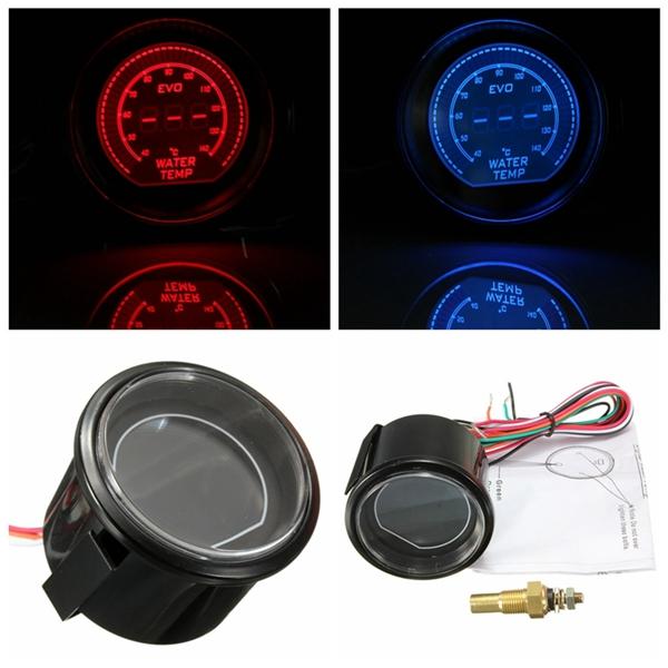 Дюйма 52 автомобилей LED датчик температуры воды 40-140 Цельсия красный синий универсальный