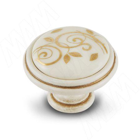 Ручка-кнопка D35мм cлоновая кость/золото винтаж керамика золотые узоры (WPO.77.01.M1.000.V5)