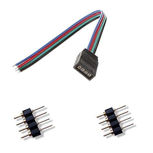 Красочный светодиодные фонари разъем  2 х 4-контактный мужской разъем для RGB 5050/3528 свет водить прокладки подключения