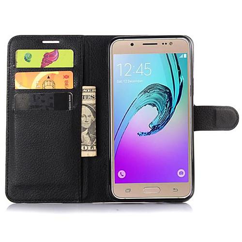 Кейс для Назначение SSamsung Galaxy Кейс для  Samsung Galaxy Кошелек / Бумажник для карт / со стендом Чехол Однотонный Кожа PU для J7 / J5 / J2