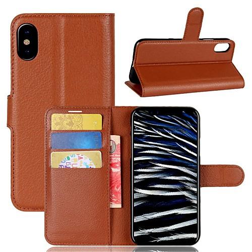 Кейс для Назначение Apple iPhone X / iPhone 8 / iPhone 8 Plus Кошелек / Бумажник для карт / Флип Чехол Однотонный Твердый Кожа PU для iPhone X / iPhone 8 Pluss / iPhone 8