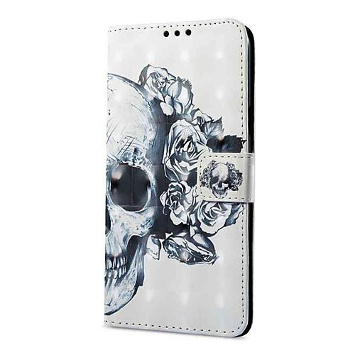 Кейс для Назначение SSamsung Galaxy S9 Plus / S9 Кошелек / Бумажник для карт / со стендом Чехол Черепа Твердый Кожа PU для S9 / S9 Plus