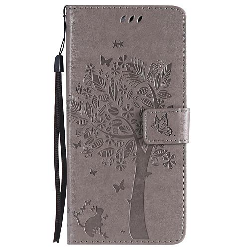 Кейс для Назначение SSamsung Galaxy S9 Plus / S9 Кошелек / Бумажник для карт / со стендом Чехол Кот / дерево Твердый Кожа PU для S9 / S9 Plus / S8 Plus