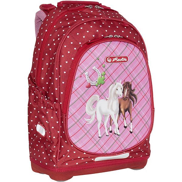 Рюкзак школьный Herlitz Bliss Horses, без наполнения, красный