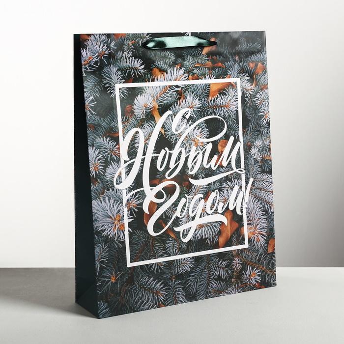 Стильный пакет ламинированный вертикальный «С Новым годом» ветки ёлки