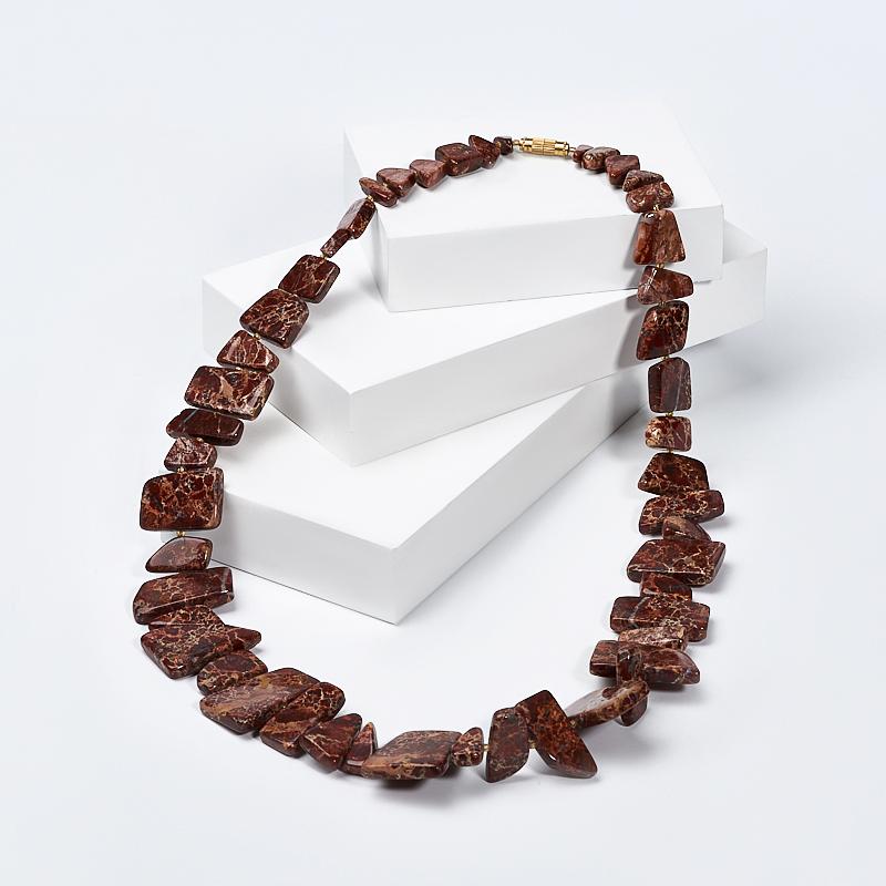 Бусы яшма уральская  (колье) 60 см (биж. сплав)