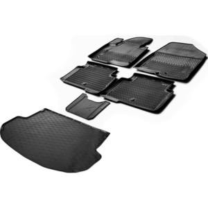 Комплект ковриков салона и багажника Rival для Hyundai Santa Fe III 5-дв. (5 мест) (2012-2018), полиуретан, без крепежа, K12306003-2