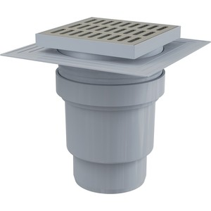 Душевой трап AlcaPlast 150х150/110 подводка прямая, нержавеющая сталь, гидрозатвор мокрый (APV13)