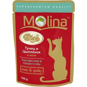 Паучи Molina Taste #and# Quality Tuna Light Meat #and# Chicken in Jelly тунец и цыпленок в желе для кошек 100г (1075)