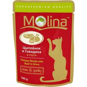 Паучи Molina Taste #and# Quality Chicken Recipe with Beef in Gravy цыплёнок и говядина в соусе для кошек 100г (1112)