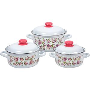 Набор эмалированной посуды 3 предмета Лысьвенские эмали Китайская роза 124АП2/4