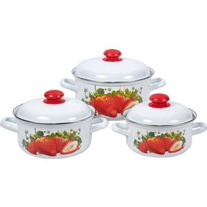 Набор эмалированной посуды 3 предмета Лысьвенские эмали Сочная клубника 124АП2/4