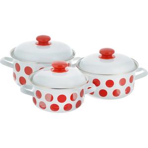 Набор эмалированной посуды 3 предмета Лысьвенские эмали Красный горох 124АП2/4