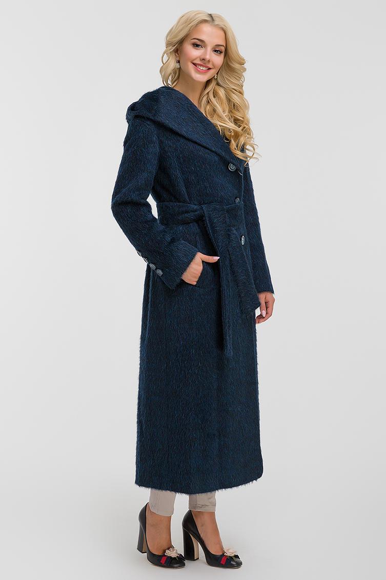 Мохеровое длинное расклешенное пальто с капюшоном