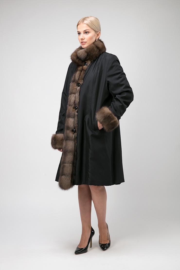 Теплое женское пальто на меху для зимы без капюшона