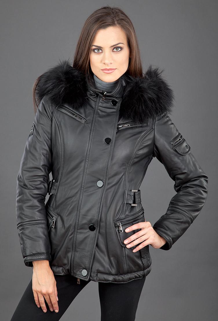 Утепленная кожаная женская куртка FLO-CLO с капюшоном