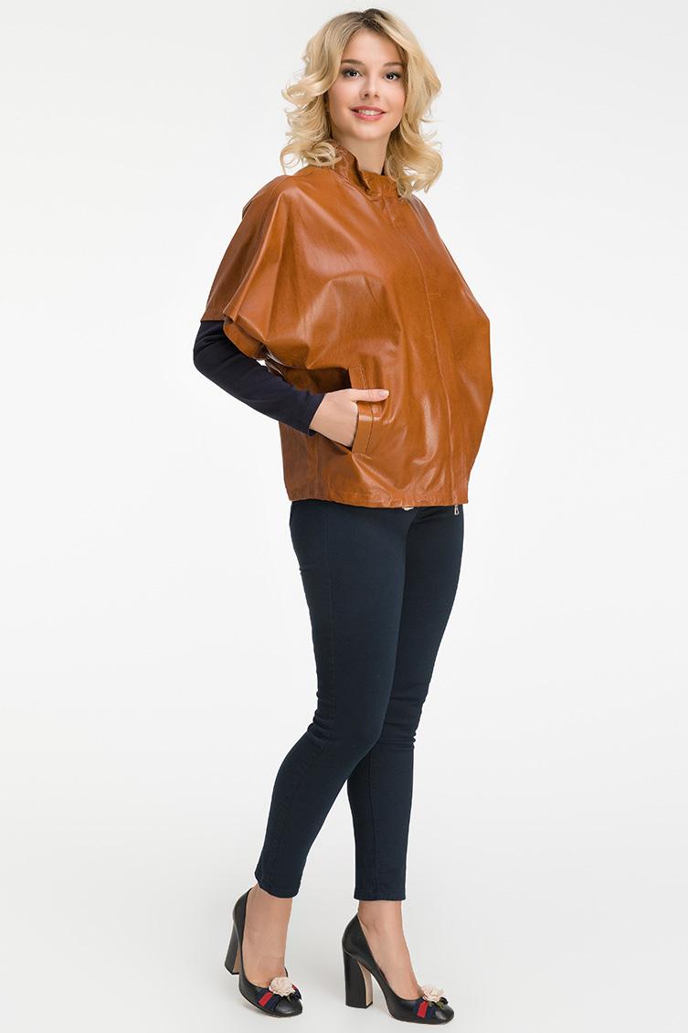 Кожаная женская итальянская куртка с коротким рукавом