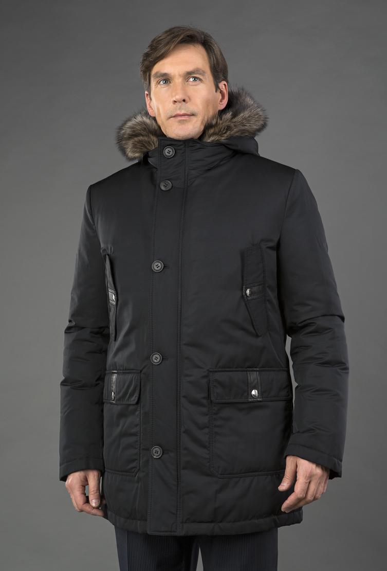 Мужской зимний пуховик на большой размер с мехом мармота