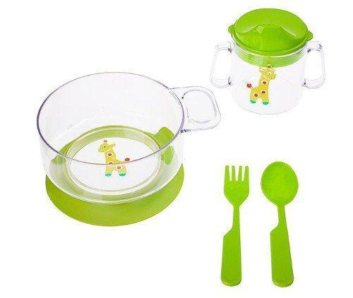 Набор детской посуды, 4 предмета, салатовый
