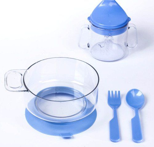 Набор детской посуды, 4 предмета, синий