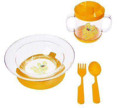 Набор детской посуды, 4 предмета, желтый