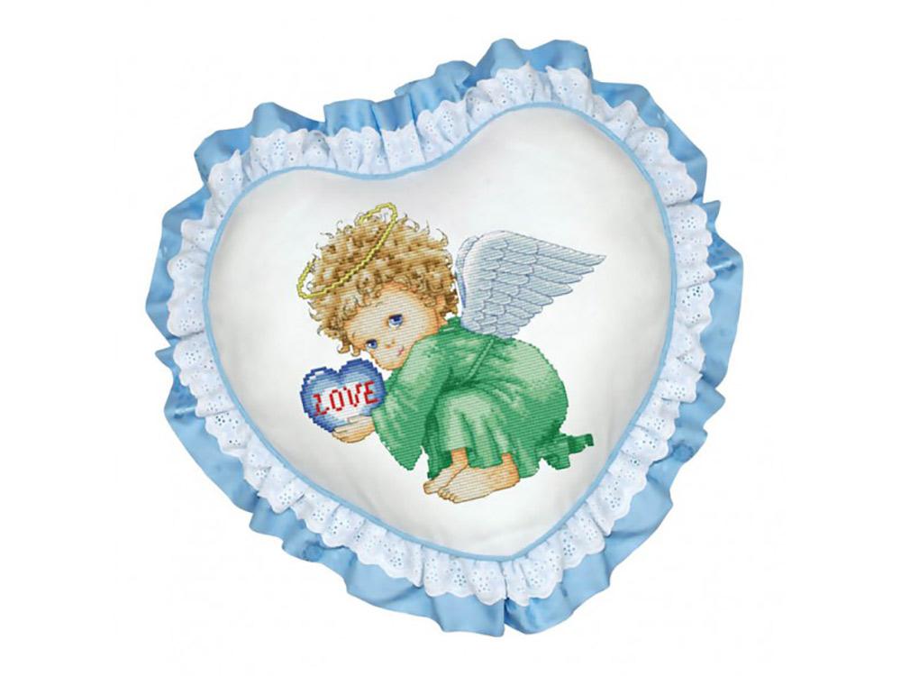 Подушка «Маленький ангел» (рюшка голубая)