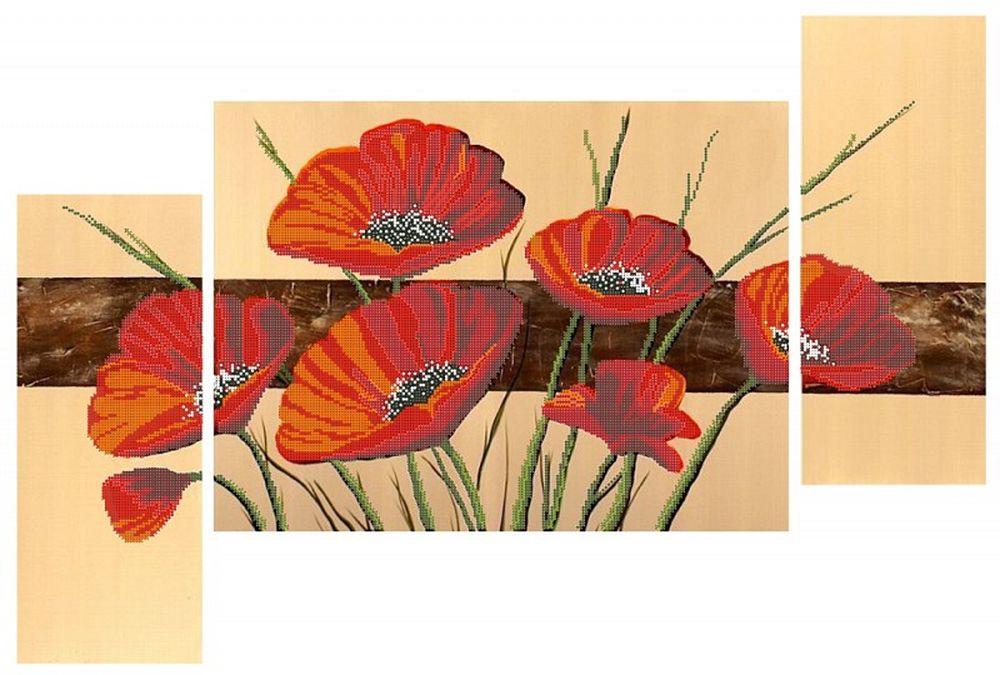 Рисунок на ткани «Триптих. Алые маки»