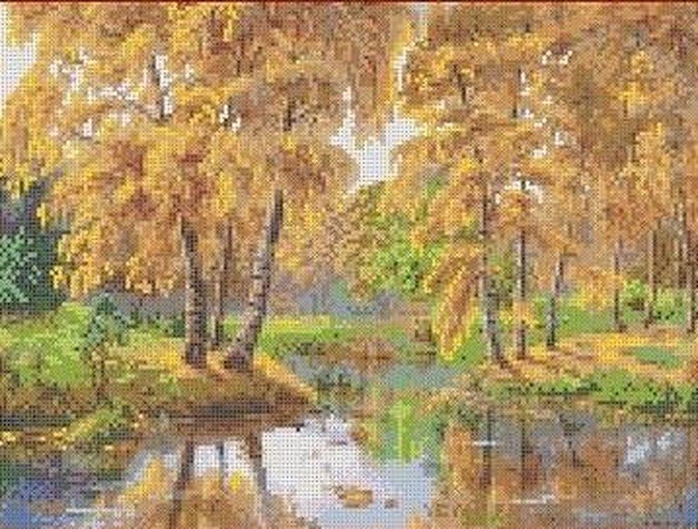 Рисунок на ткани «Осень в отражении»
