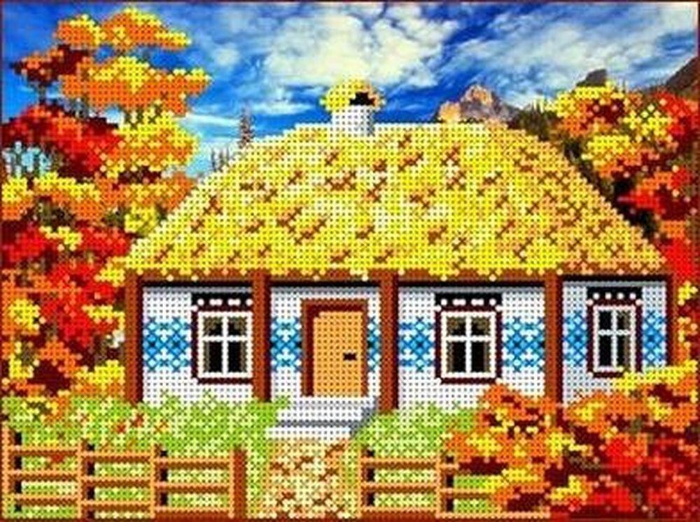 Рисунок на ткани «Осень в деревне»